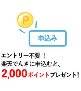 楽天でんきの申込みで2000ポイントもらえる