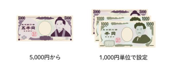 イデコは5,000円から1,000円単位