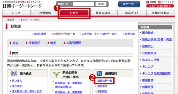SMBC日興証券の売建可能数量の確認1
