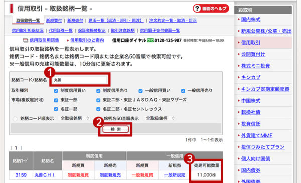 SMBC日興証券の売建可能数量の確認2