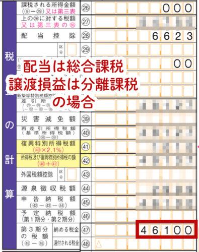 配当金を総合課税で入力した場合の確定申告書類