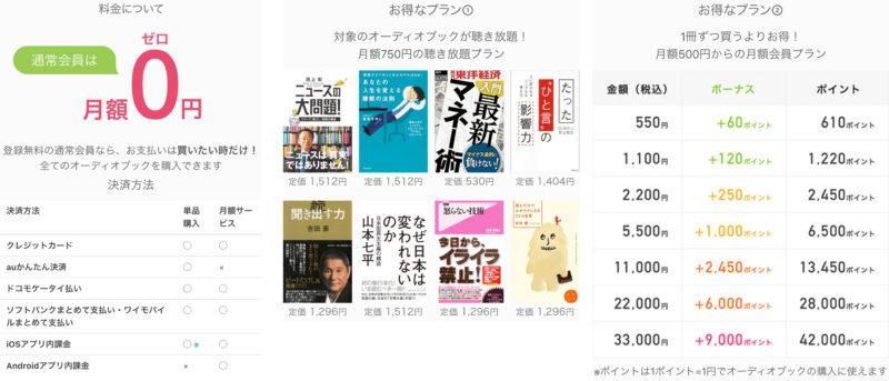 audiobook.jpの料金
